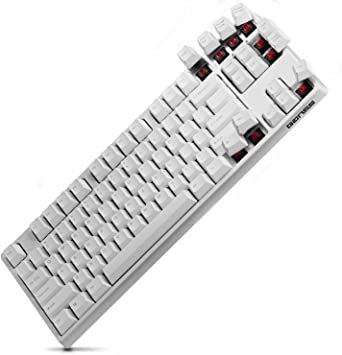 GANSS Teclado mecánico Gaming switches Cherry MX Rojo N-Key Anti-Ghost, Color Blanco(QWERTY US Layout)