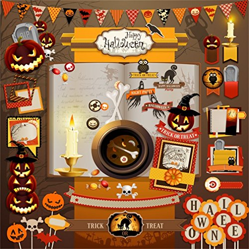 CSFOTO 4x4ft Happy Halloween Background Night Party Photography Backdrop Halloween Elements Decoration Skull Funny Pumpkin Lantern Trick Treat Tombstone Photo Studio Props Polyester -