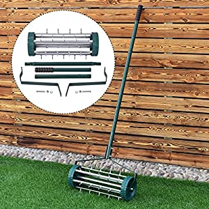 Heavy Duty Rolling Garden Lawn Aerator Roller Home Grass Steel Handle Green New