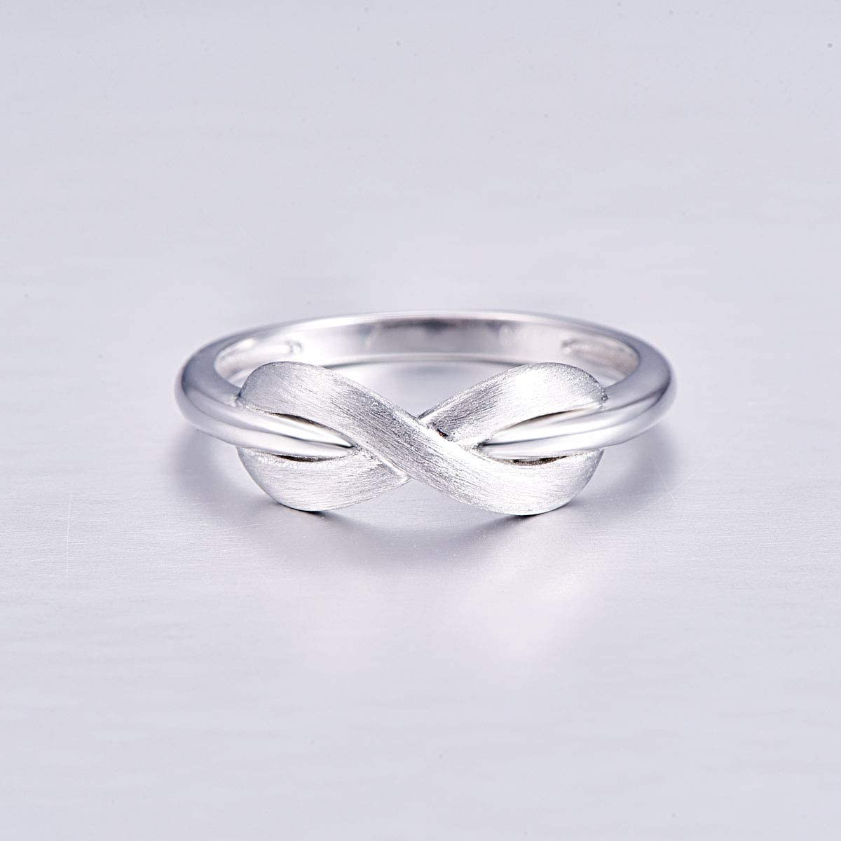 PAKULA 925 Sterling Silver Women Infinity Knot Plain Band Knuckle Thumb Pinky Ring