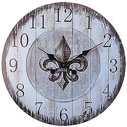LuLu Decor, Fleur De Lis Round Wood Wall Clock 23.50 (Heritage)