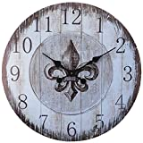 Cheap LuLu Decor, Fleur De Lis Round Wood Wall Clock 23.50″ (Heritage)
