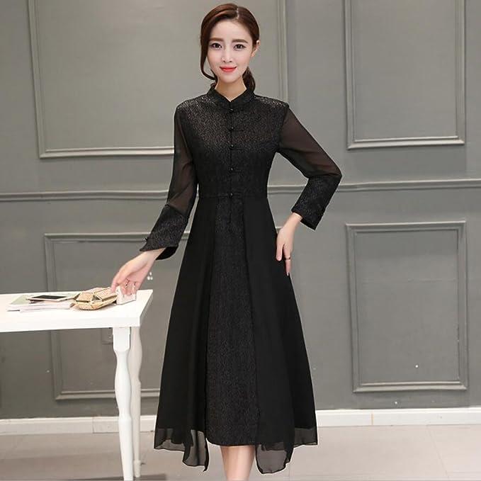 YAN Kleid der Frau Frauen Cheongsam chinesischen Stil Stehkragen Tee  Kleidung dünnes Kleid Frühling und Herbst 3ff771ef05