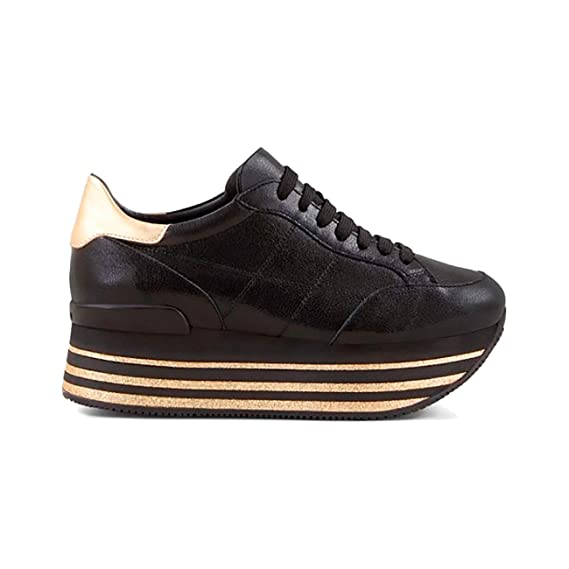 Hogan Sneakers H368 Maxi in Pelle Nera E Oro cd1cd717360