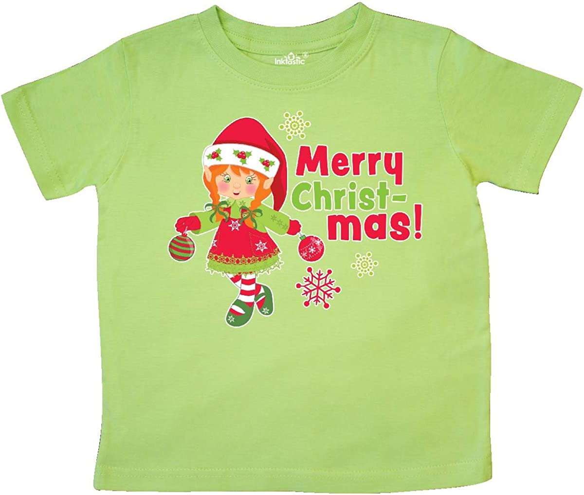 inktastic Merry Christmas Elf with Red Hair and Snowflakes Toddler T-Shirt