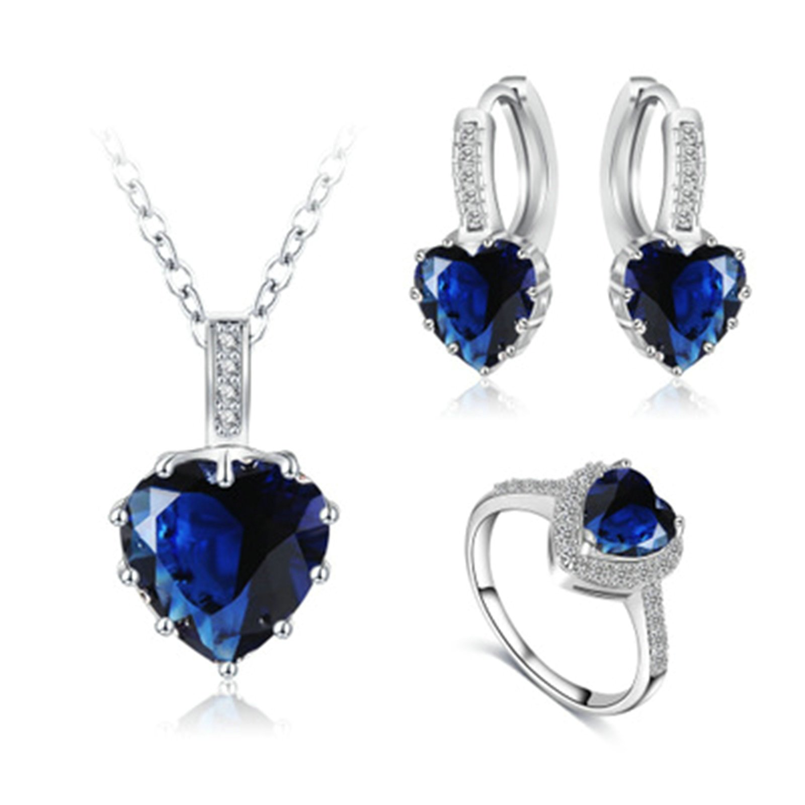 Daesar Jewelry Set Silver Plated Ring Necklace Earrings Set for Women Zircon Heart Blue Ring Size 9