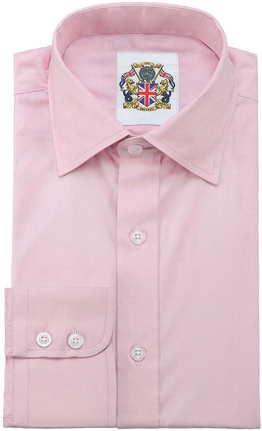 Camisa de manga larga para Hombres, Modelo London Liso Clásico, Puños simples, Estilo formal o relajado – Janeo British Apparel – 39, Rosa: Amazon.es: Hogar