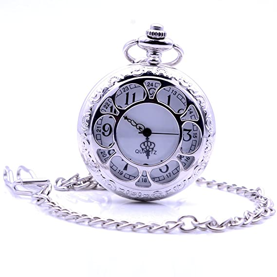 0a59d4655 Classic Vintage Silver Flowers Quartz Pocket Watch with Box, Men's Women's  Pocket Watch with Chain & Gift Box: Amazon.ca: Watches