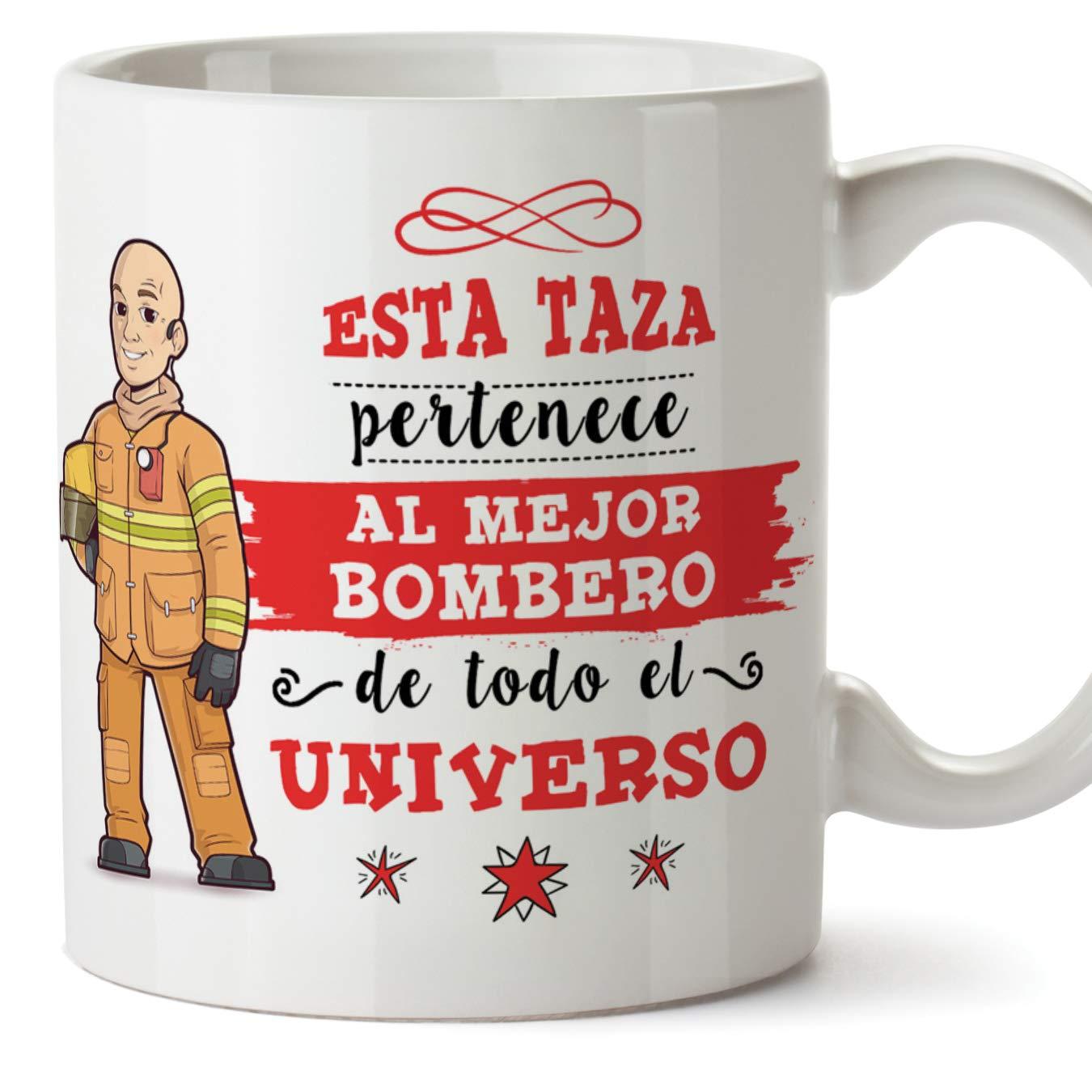 """Taza """"Esta taza pertenece al mejor bombero de todo el universo"""""""