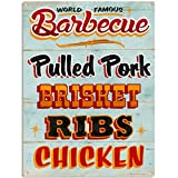 Cheap Barbecue Food Menu BBQ Restaurant Kitchen Metal Sign 12 x 16