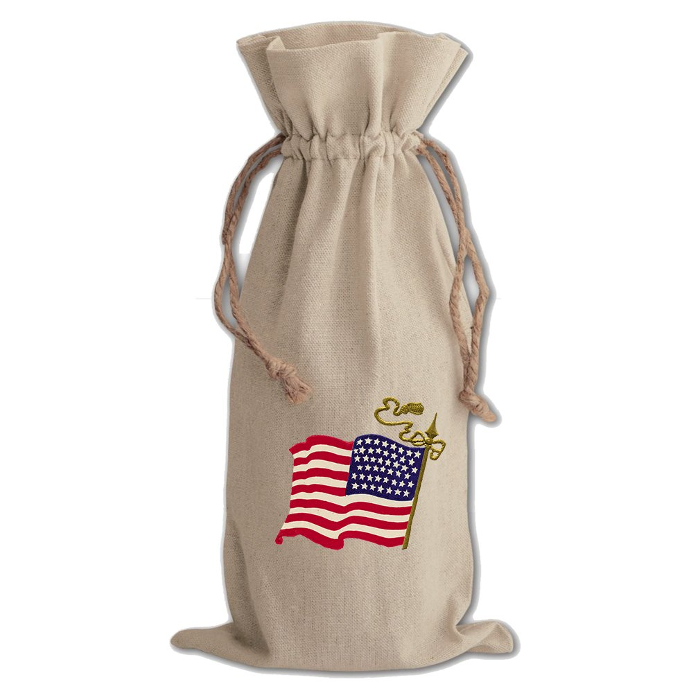 Canvas Wine Drawstring Bag America American Flag Holidays By Style In Print