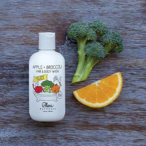 Pleni Naturals Apple + Broccoli Hair & Body Wash 8oz with Organic Sweet Orange Essential Oil, Dermatologist Tested and Safe for Baby, Toddler and Small Children with Sensitive Skin by Pleni Naturals (Image #3)