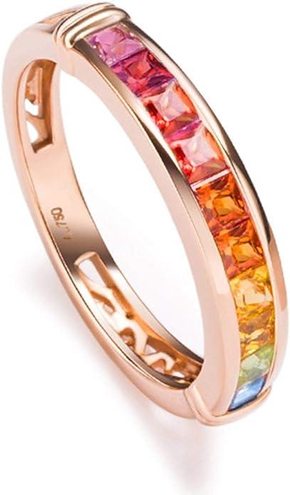 Epinki 18K Gold Earrings for Women Girls Square Rainbow Earrings Gemstone Rose Gold