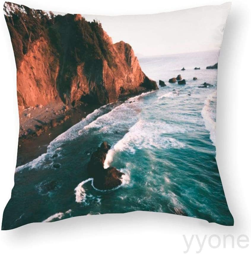 yyone Decorative Throw Pillow Case Oregon Coast Throw Pillow Covers Cushion Cover Home Office Decor,Square 18 X 18 Inches