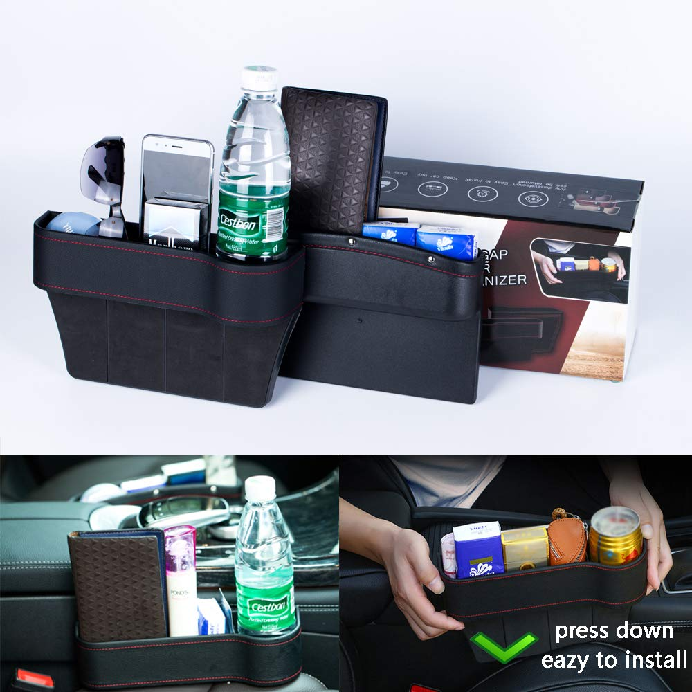 New Car Seat Universal Storage Organizer Box 2 Packs PU Leather Car seat Filler Gap Cola Bottle Cup Holder Mobile Phone Holder Wallet Cigarette Lighter and Coin Package for car by LC novel