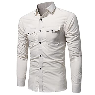 c8bbc63a3 Usopu Men's Casual/Daily Double Pockets Solid Color Long Sleeve Shirt at  Amazon Men's Clothing store: