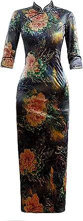 Shanghai Story Autumn Velvet Cheongsam Long Qipao Dresses Chinese Traditional Dress