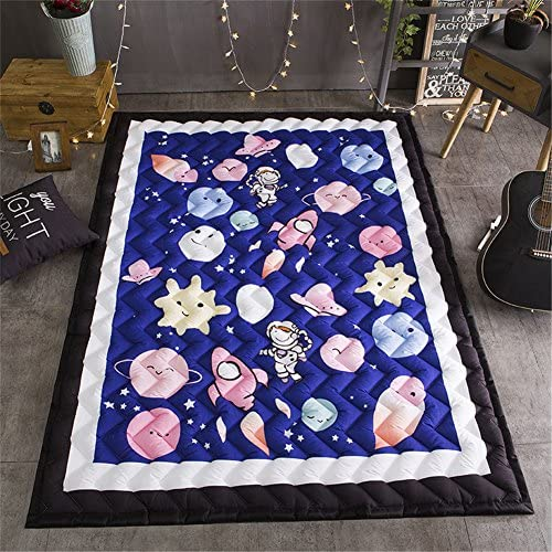 Cusphorn Kids Play Rug Early Education Children Carpet Washable Microfiber Fun Area Soft Floor Mat with Non-Skid Rubber Backing Rectangle Planet