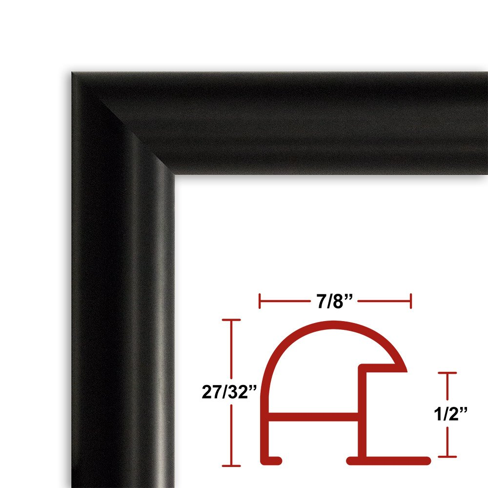 34 x 52 Satin Black Poster Frame - Profile: #16 Custom Size Picture Frame