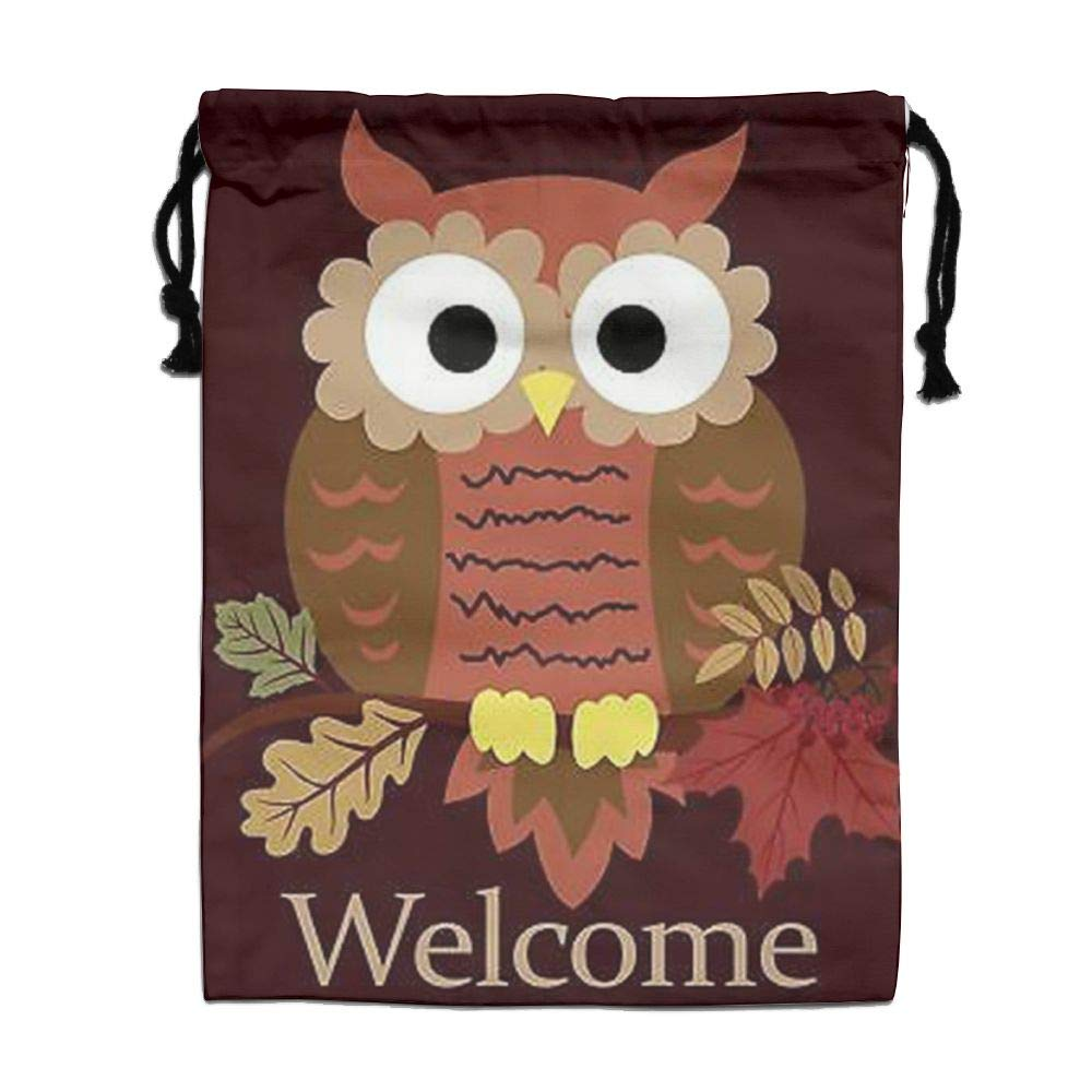 Custom Drawstring Bag,Welcome-Fall-Cute-Owl Holiday/Party/Christmas Tote Bag 15.7(H)x 11.8(W) in by DFGTLY (Image #1)