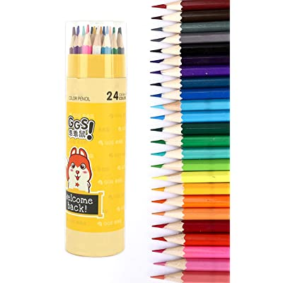 Colored Pencils Assorted Colors Adult/Kids Coloring Art Supplies Colored Pencil Set, 24 Colors #1: Office Products