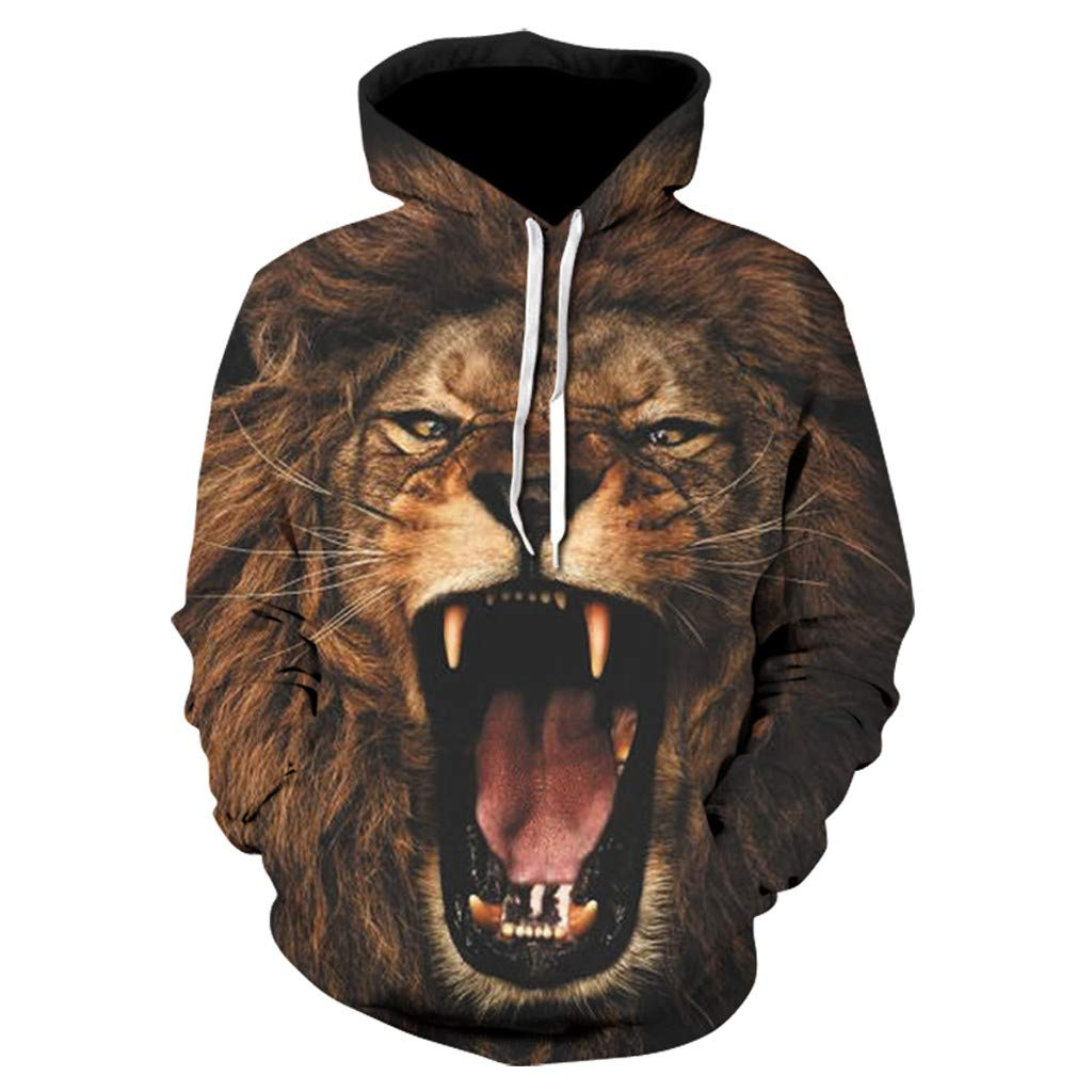 TV Tuners Electronics Mens Autumn Hooded Lion Printing Long
