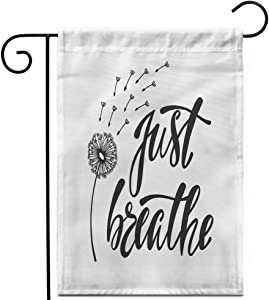 """Awowee 12""""x18"""" Garden Flag Just Breathe Inspirational About Freedom Modern Phrase Dandelion Outdoor Home Decor Double Sided Yard Flags Banner for Patio Lawn"""