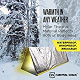 Survival Shack Emergency Survival Shelter Tent | 2 Person Mylar Thermal Shelter | 8' X 5' All Weather Tube Tent | Reflective Material Conserves Heat | Lightweight | Waterproof | Best Survival Gear
