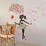 "SWORNA Nature Series SN-50 Lovely Flower Girl with Umbrella Removable Vinyl DIY Wall Art Mural Sticker Decal Decor for Bedroom/Living Room/Playroom/Store/Home Office/HallwayKindergarten 67""H X 57""W"