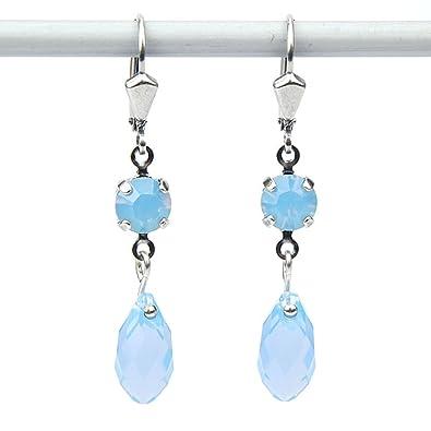 8ea80d914186c8 Krikor Hook-Earrings with Drops Fans, Crystallised Swarovski Elements TM -,  air Opal Blue - IN JEWELLERY BAG: Amazon.co.uk: Jewellery