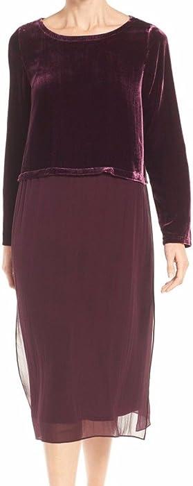 a526a022671af Eileen Fisher Women s Velvet   Silk Midi Length Shift Dress in Raisonette  (Wine) (