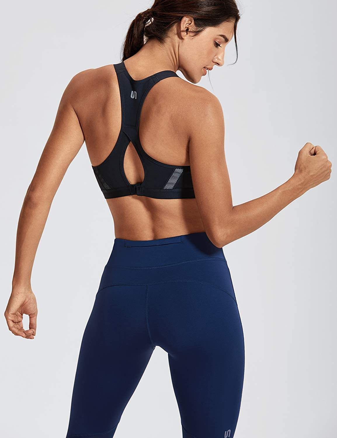 SYROKAN Womens Full Coverage Racerback High Impact Workout Firm Support Padded Push Up Sports Bra