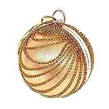 Woman Round Ball Clutch Handbag Rhinestone Ring Handle Purse Evening Bag (Gold)