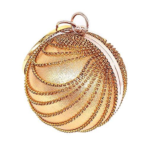 Woman Round Ball Clutch Handbag Rhinestone Ring Handle Purse Evening Bag (Gold) by IBELLA