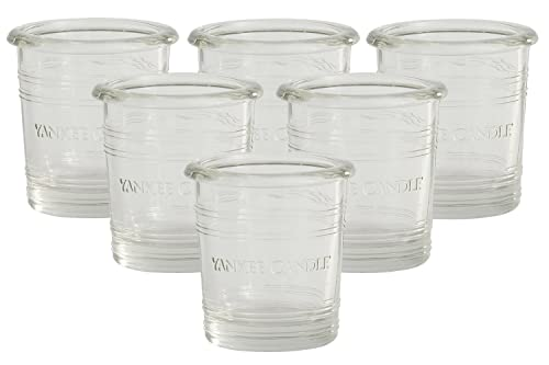 """Yankee Candle Clear Solid Glass Votive Holders SIX PACK for Samplers/Tea Lights Small 7cm/2.8"""" Mini Vintage Rustic Bucket Style Decorative & Cute Candle Containers for Fireplaces/Tables Indoor/Outdoor"""