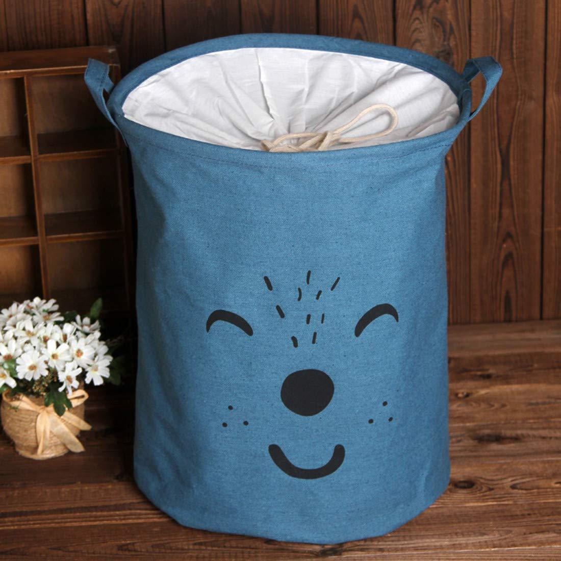 JMAHM Schmutzige Wäschetasche Beam Port Faltender Wäschekorb Wäschehaken Schmutziger Korb Kann Versiegelt Werden (Smiley Blau)