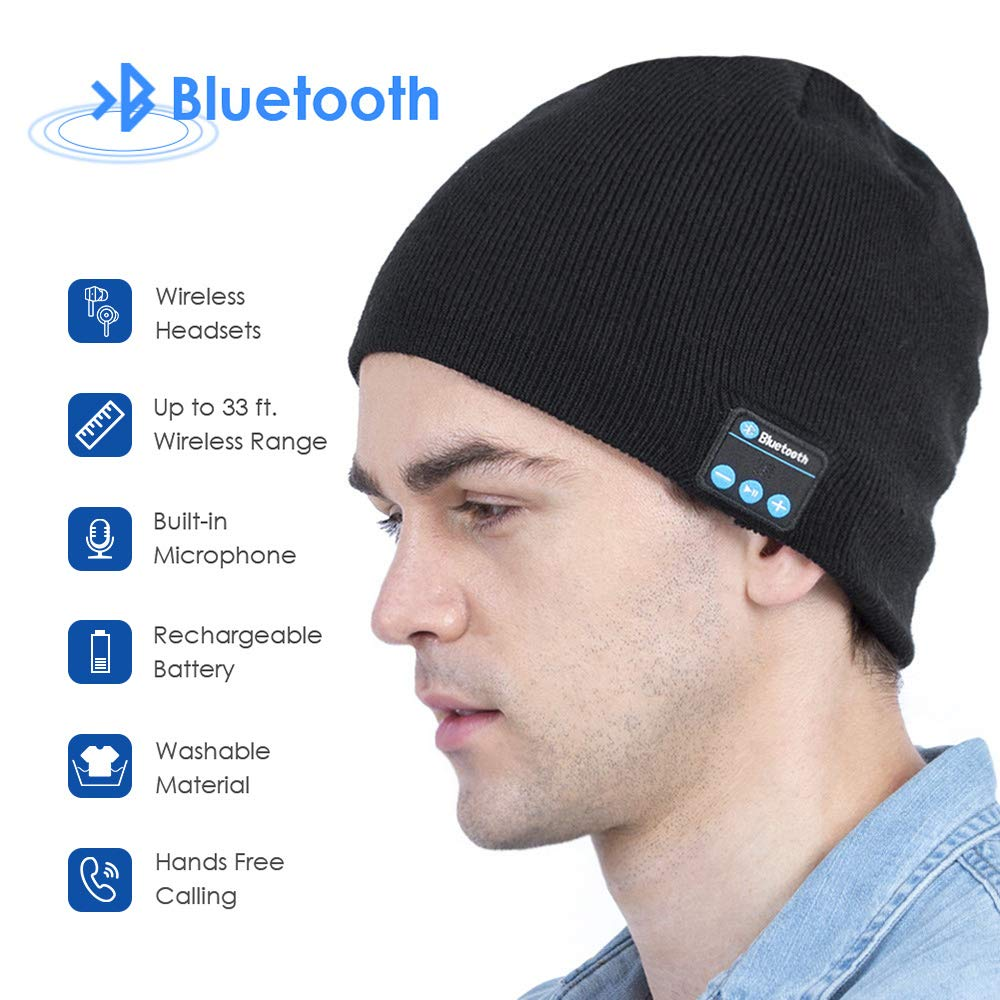 Bluetooth Beanie, Bluetooth Hats for Men and Women, Music Hat with Bluetooth Headphones, Electronic Gifts for Men, Fashion Gifts for Women (Black)