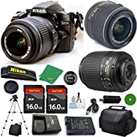 Nikon D3200 - International Version (No Warranty), 18-55mm f/3.5-5.6 DX VR, Nikon 55-200mm f4-5.6G ED DX Nikkor, 2pcs 16GB Memory, Camera Case