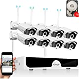 JOOAN 3MP Security Camera System Wireless,8-Channel NVR&8Pcs 1296P FHD (Clearer Than 1080P) Audio Record CCTV Cameras,Waterpr