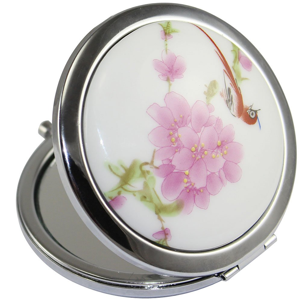 KOLIGHT New Vintage Chinese Landscape Flower Bird Double Sides (One is Normal, Another is Magnifying)Portable Foldable Pocket Metal Makeup Compact Mirror Woman Cosmetic Mirror (Flower+Red Bird)
