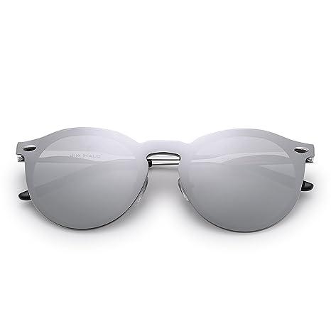 Lunettes de Soleil Club Rondes Sunglasses Miroir Polarisé avec Lentilles Bouclier One Piece Sans Cadre (Or/Rose Polarisé) y9QRyi5kx
