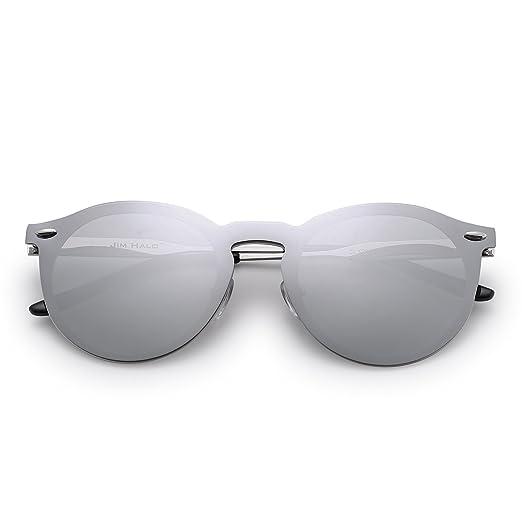 Jim Halo Lunettes de Soleil Club Rondes Sunglasses Miroir Polarisé avec Lentilles Bouclier One Piece Sans Cadre (Argenté/Vert Polarisé) XxeDLu09
