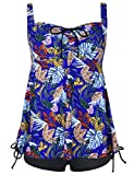 Hilor Women's Drawstring Flowy Halter Floral Tankini Set Two Piece Swimsuit Royal Blue Leaves 14
