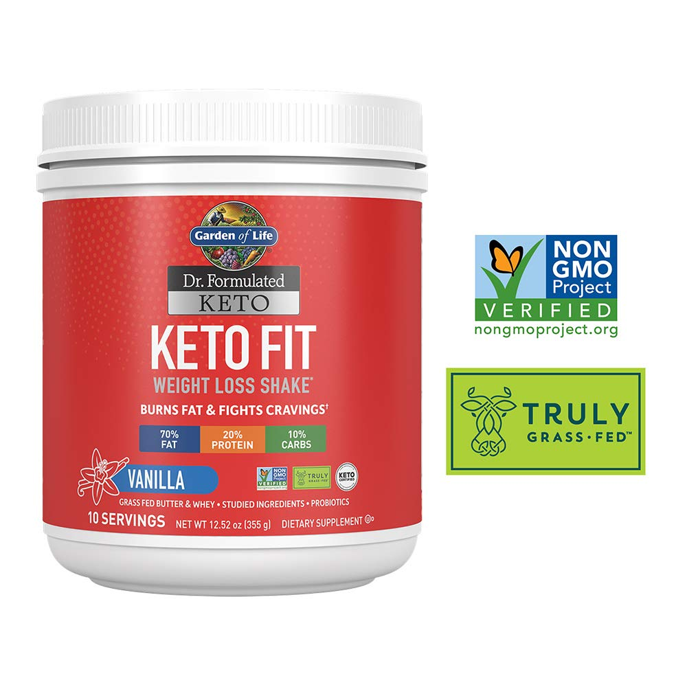 Garden of Life Dr. Formulated Keto Fit Weight Loss Shake - Vanilla Powder, 10 Servings, Truly Grass Fed Butter & Whey Protein, Studied Ingredients & Probiotics, Non-GMO, Gluten Free, Ketogenic, Paleo