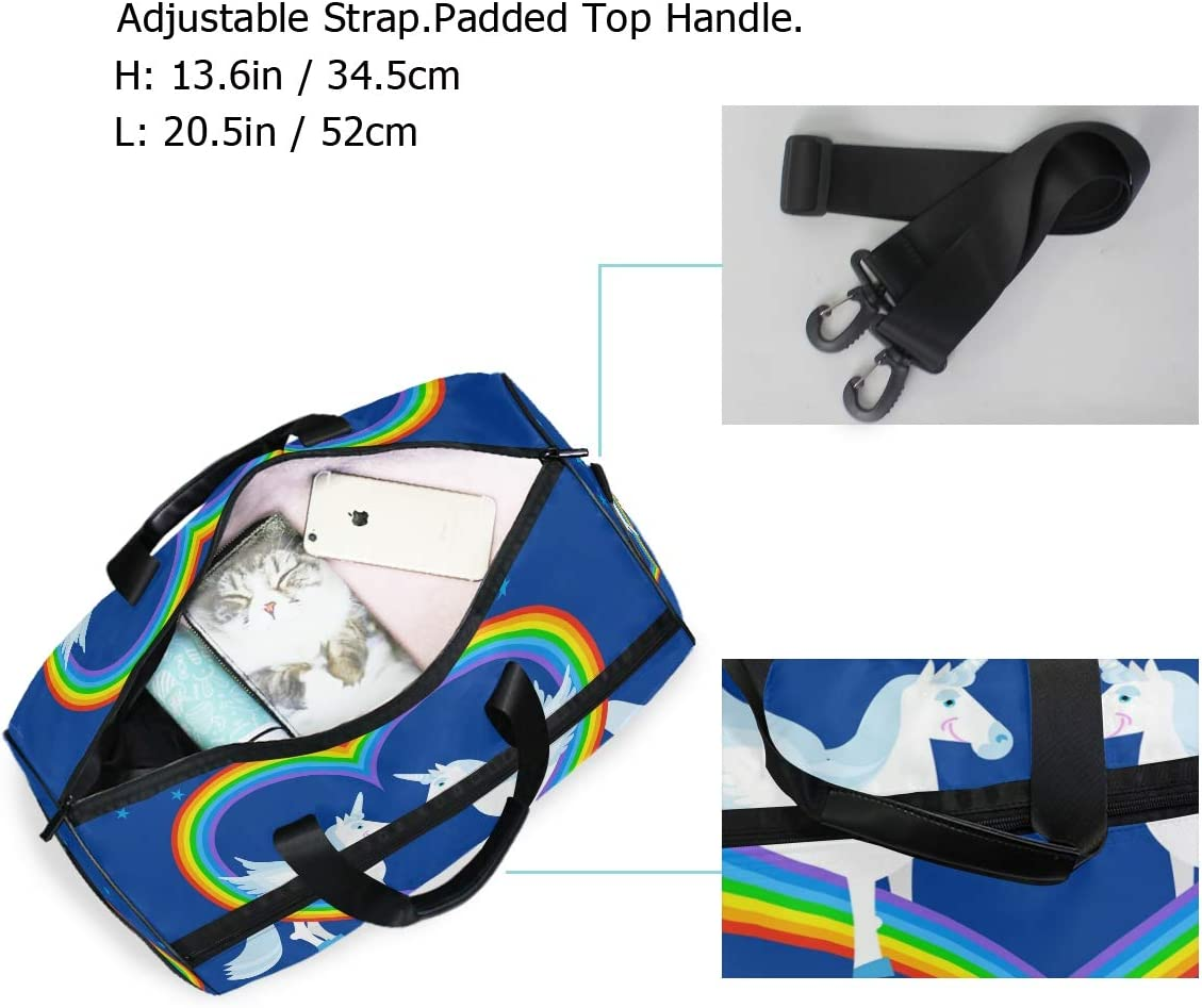 Unicorn Rainbow Sports Gym Bag with Shoes Compartment Travel Duffel Bag for Men and Women