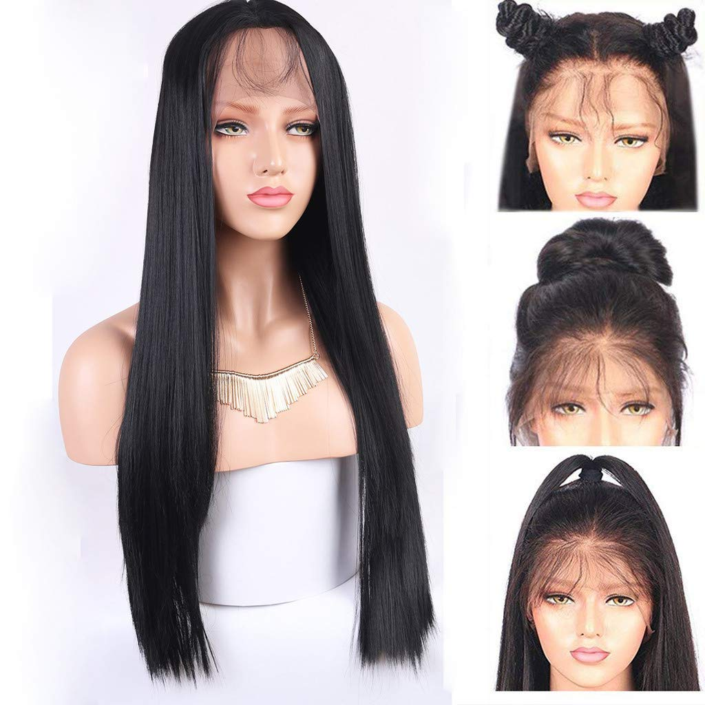 26 Black Wig Lace Front Long Straight Wig for Black Women Middle Part Human Hair Wigs Natural Hairpiece Heat Resistant Synthetic Fiber Female Party Full Wigs Clearance