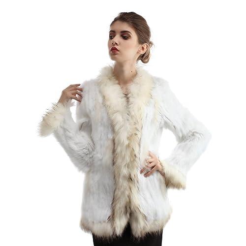 Bellerfur Real conejo de piel de abrigos de piel de mapache chalecos de cuello hecho punto chaquetas...