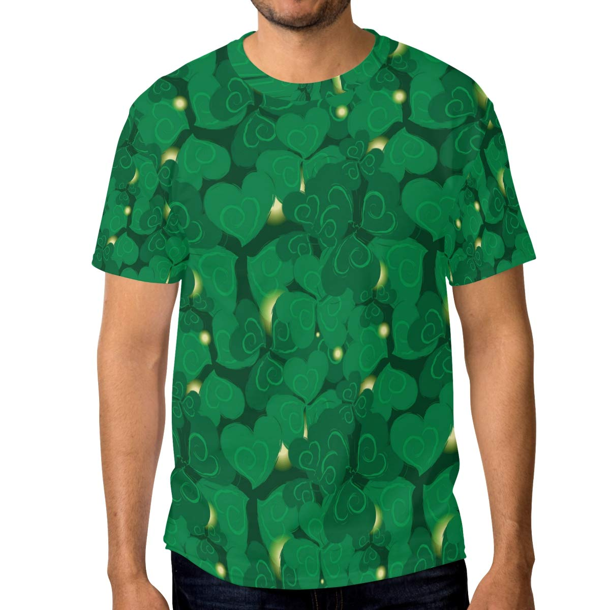 Horatiood Huberyyd Shamrock for St Patrick Day Mens T Shirts Graphic Funny Body Print Short T-Shirt Unisex Pullover Blouse