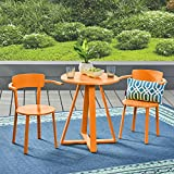 Great Deal Furniture Kate Outdoor Iron Bistro Set, Matte Orange