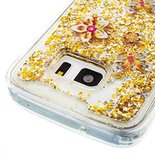Trumpshop Smartphone Carcasa Funda Protección para Samsung Galaxy S7 edge + Atrapasueños + TPU 3D Liquido Dinámica Sparkle Estrellas Quicksand Resistente a arañazos Caja Protectora Flores de oro